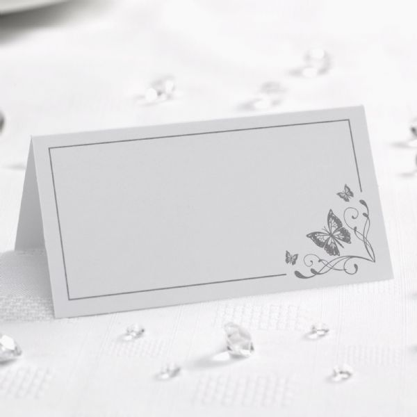 Elegant Butterfly Place Cards - White & Silver (50)